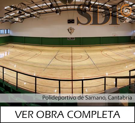 Polideportivo Samano restauracion y barnizado Parquets Nervion