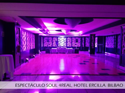 Espectáculo baile Soul 4Real, hotel Ercilla Bilbao. Pista desmontable Junckers