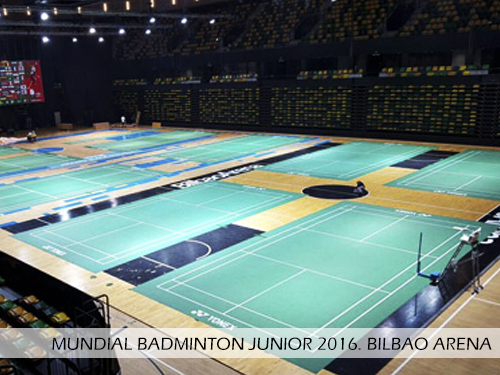 Mundial Badminton Junior 2016 Bilbao Arena. Pista desmontable Junckers